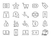 De reeks van het kortingspictogram Inbegrepen pictogrammen als verkoop, bevordering, kenteken, coupon, contant geldrug en meer Royalty-vrije Stock Afbeeldingen