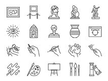 De reeks van het kunstpictogram Omvatte de pictogrammen als artistieke kunstenaar, kleur, verf, beeldhouwwerk, standbeeld, beeld, stock illustratie