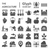 De reeks van het landbouw glyph pictogram, de inzameling van de landbouwsymbolen, vectorschetsen, embleemillustraties, het tuinie royalty-vrije illustratie