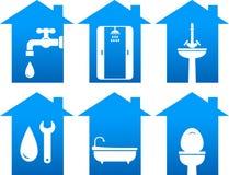 De reeks van het loodgieterswerk badkamerspictogrammen Stock Foto