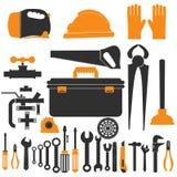 De reeks van het loodgieterswerkmateriaal de vectorillustratie van reparatiehulpmiddelen Stock Foto