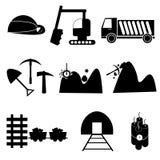 De reeks van het mijnbouwpictogram Stock Foto's