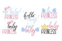 De reeks van het mooie die van letters voorzien, hand met borstel wordt geschilderd bages - Oh babyprinses Royalty-vrije Stock Afbeelding