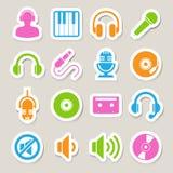 De reeks van het muziekpictogram. Stock Foto