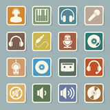 De reeks van het muziekpictogram. Stock Foto's
