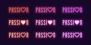 De reeks van het neonpictogram van Hartstochtswoord Vector het gloeien art. stock illustratie