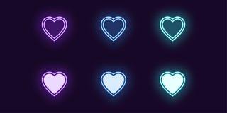 De reeks van het neonpictogram van Manierhart Het gloeien Liefde stock illustratie