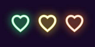 De reeks van het neonpictogram van Manierhart Het gloeien Liefde royalty-vrije illustratie