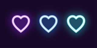 De reeks van het neonpictogram van Manierhart Het gloeien Liefde vector illustratie