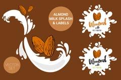 De reeks van het nootpakket beeldverhaalamandelen op melkplonsen De organische markeringen van notenetiketten stock illustratie