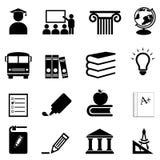 De pictogrammen van het onderwijs en van de school Stock Foto