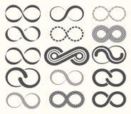De reeks van het oneindigheidssymbool, 15 tekens van eeuwigheid stock illustratie