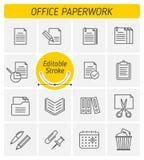 De reeks van het het overzichts vectorpictogram van de bureauadministratie stock illustratie