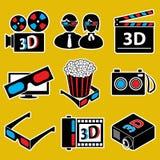 De reeks van het pictogram. 3d filmapparaten. Stock Foto's