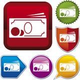 De reeks van het pictogram: contant geld Stock Afbeelding