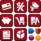 De reeks van het pictogram: elektronische handel Stock Foto's
