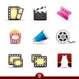 De reeks van het pictogram - film en film Stock Foto's