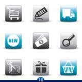 De reeks van het pictogram - Internet het winkelen stock illustratie