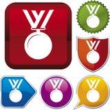 De reeks van het pictogram: medaille Stock Afbeelding