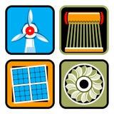De Reeks van het Pictogram van alternatieve Energiebronnen Stock Fotografie