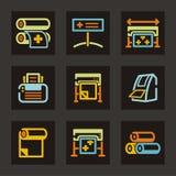 De Reeks van het Pictogram van de reclame Stock Afbeelding