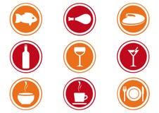 De Reeks van het Pictogram van het restaurant. Royalty-vrije Stock Foto