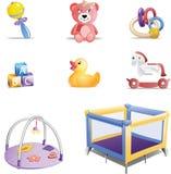 De Reeks van het Pictogram van het Speelgoed van de baby Royalty-vrije Stock Afbeeldingen