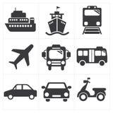 De Reeks van het Pictogram van het vervoer Stock Afbeeldingen