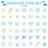 De Reeks van het Pictogram van het weer Lijnpictogrammen 42 punten Wolken, zon, regen, umbrel Stock Fotografie