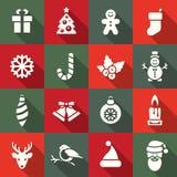 De Reeks van het Pictogram van Kerstmis Stock Afbeeldingen