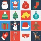 De Reeks van het Pictogram van Kerstmis De elementen van de decoratie Vector Stock Afbeelding