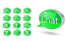 De reeks van het pictogram van praatje, forum, blog, rss, hulp Royalty-vrije Stock Fotografie