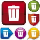 De reeks van het pictogram: vuilnisbak (vector Stock Foto's