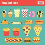 De reeks van het pixel snelle voedsel, geïsoleerde vectorpictogramreeks Stock Foto
