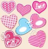 De reeks van het plakboek harten in gestikte textielstijl Royalty-vrije Stock Afbeeldingen