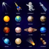 De reeks van het planetenpictogram, beeldverhaalstijl vector illustratie