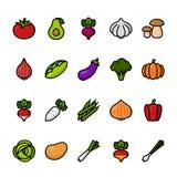 De reeks van het rassenbarrièrepictogram Groenten Pixel perfecte pictogrammen royalty-vrije illustratie