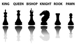 De reeks van het schaakstukkensilhouet Stock Foto's
