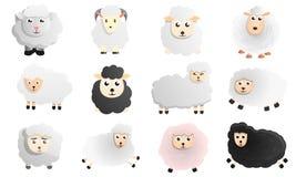De reeks van het schapenpictogram, beeldverhaalstijl stock illustratie