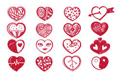 De reeks van het schetshart en de dag van de valentijnskaart Stock Foto