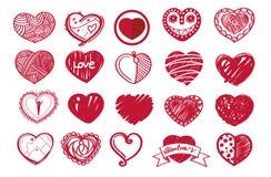 De reeks van het schetshart en de dag van de valentijnskaart Stock Foto's