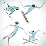De Reeks van het skiërpictogram Stock Afbeelding