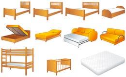 De reeks van het slaapkamermeubilair, vectorillustratie Royalty-vrije Stock Foto's