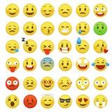 De reeks van het Smileygezicht Van het berichtmensen van het karakter babbelt het gezichts gele teken gevoel van de de mensenemot royalty-vrije illustratie