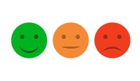 De reeks van het Smileypictogram Positief, neutraal en negatieve Emoticons De vector isoleerde rode en groene stemming Het schatt Stock Afbeeldingen