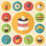 De reeks van het snoepjeselement, voedselpictogrammen, vlakke ontwerpvector Stock Afbeeldingen