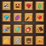 De reeks van het spelpictogram, spel vlak pictogram, middelen, buit Stock Afbeeldingen