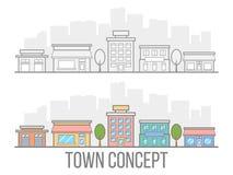 De reeks van het stadsconcept Straat met hotel, garage, boutique en koffie Lineair ontwerp Kleine stad in vlakke die stijl op wit Royalty-vrije Stock Afbeeldingen