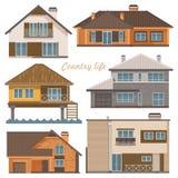 De reeks van het stadsleven Vectorillustratie met gebouwen, losgemaakt huis stock illustratie