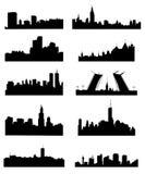 De reeks van het stadssilhouet Stock Foto's